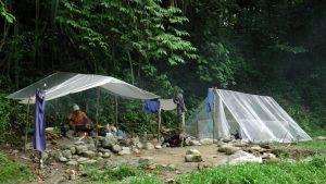 Notre campement dans la jungle en bâche plastique